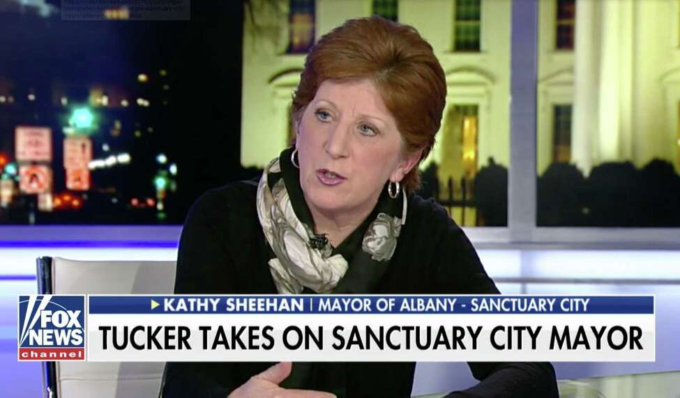 A federal court has ruled unanimously that the federal government could withhold grants from cities and states that refuse to cooperate with federal immigration enforcement. The city of Albany is one of the municipalities in the nation that faces the threat of lost funding over its status as a sanctuary city. Here, Albany Mayor Kathy Sheehan is interviewed about sanctuary cities by Fox News host Tucker Carlson in 2018.