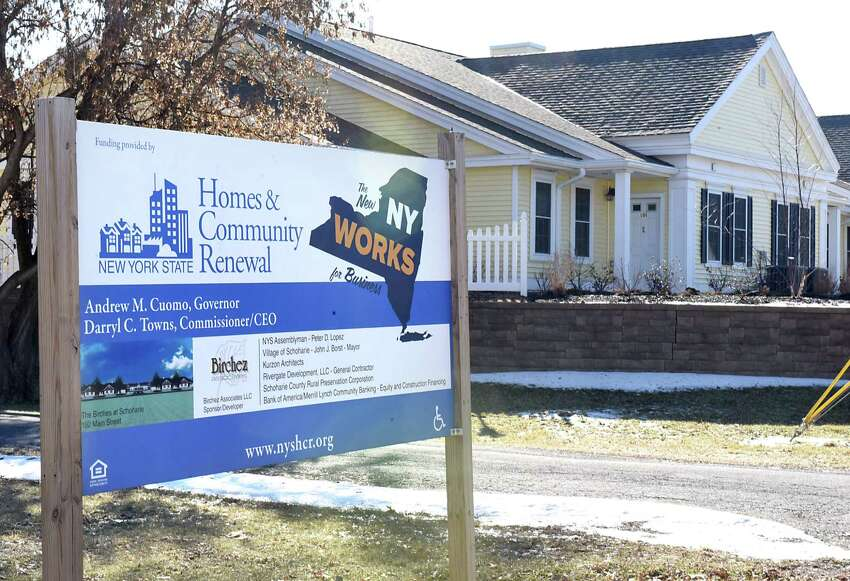 Sign at Birches at Schoharie on Thursday, Jan. 25, 2018 in Schoharie, N.Y. Birches at Schoharie is a low income housing project which is still in limbo over tax credits. (Lori Van Buren/Times Union)