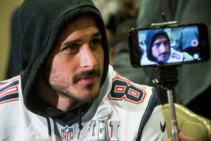 New England Patriots wide receiver Danny Amendola (80) listens to questions as he sits for an interview during Patriots media availability on Wednesday, Feb. 1, 2017, in Houston. ( Brett Coomer / Houston Chronicle )