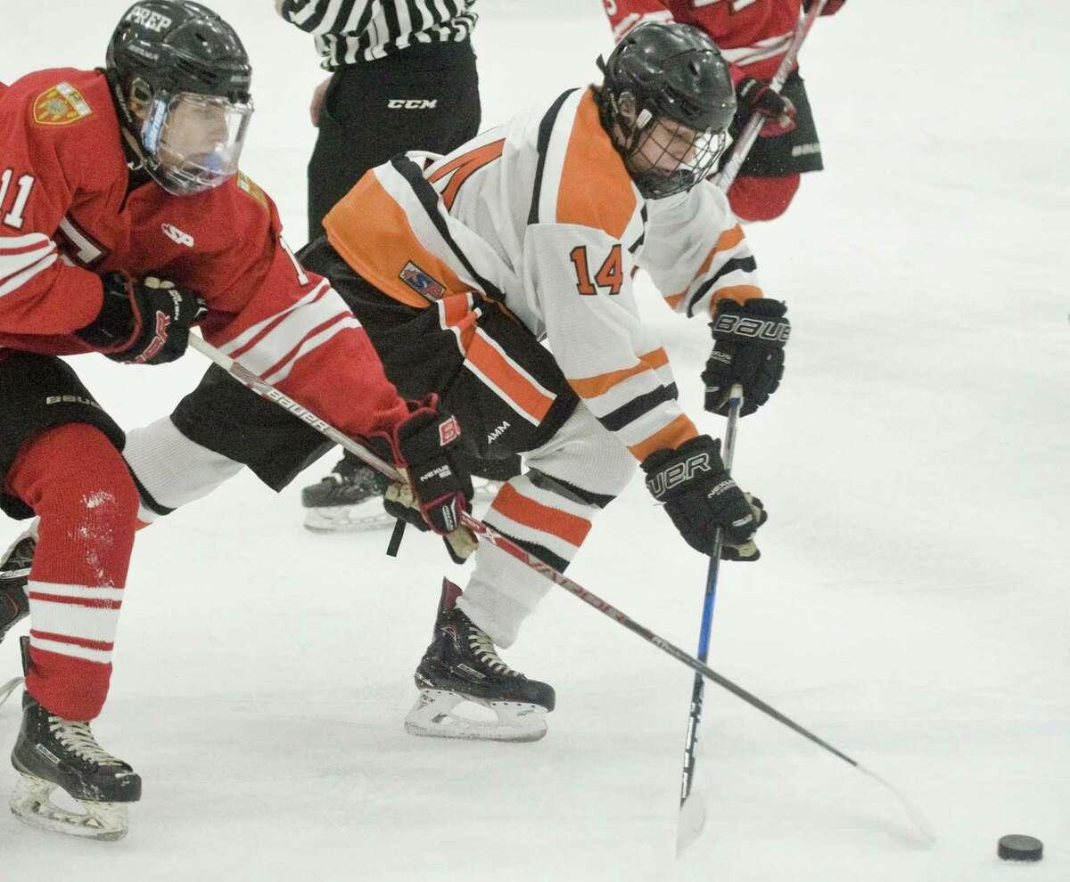 Fairfield Prep boys hockey vs Ridgefield High School, played at the Winter Garden Arena in Ridgefield. Saturday, Dec. 16, 2017