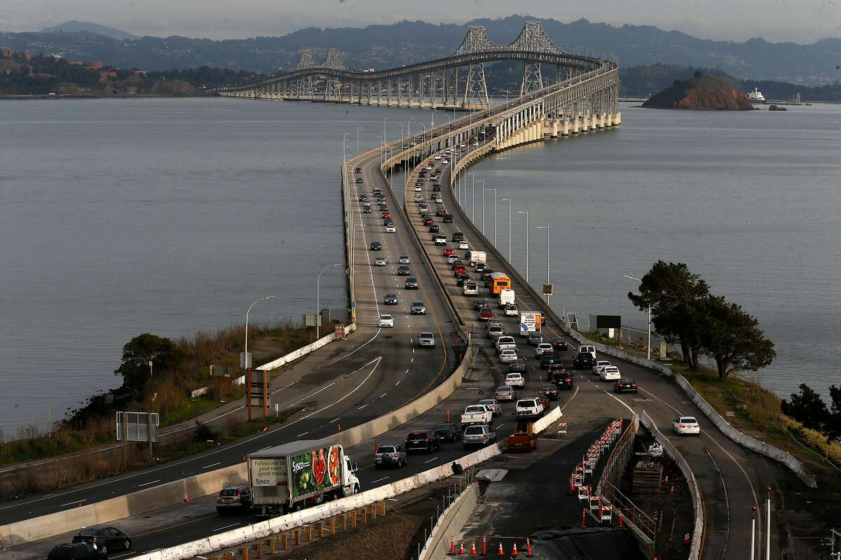 The eastbound evening commute traffic across the Richmond-San Rafael Bridge. Plans are in the works to open a third lane on the bridge.