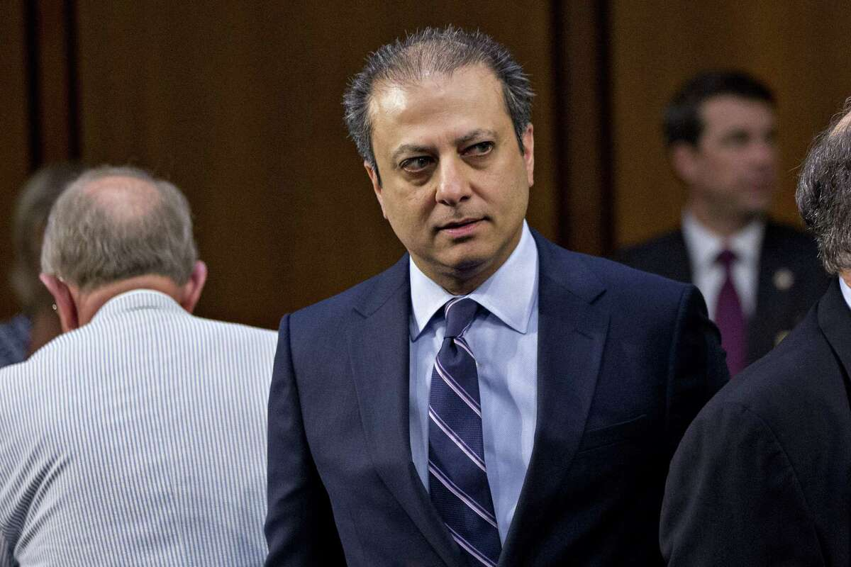 Preet Bharara, former U.S. attorney for the Southern District of New York, attends a Senate Intelligence Committee hearing with former Federal Bureau of Investigation (FBI) Director James Comey, not pictured, in Washington, D.C., U.S., on Thursday, June 8, 2017. Comey in prepared remarks to the committee said U.S. President Donald Trump sought his loyalty and urged him to drop the investigation into former National Security Advisor Michael Flynn. Photographer: Andrew Harrer/Bloomberg ORG XMIT: 700061967