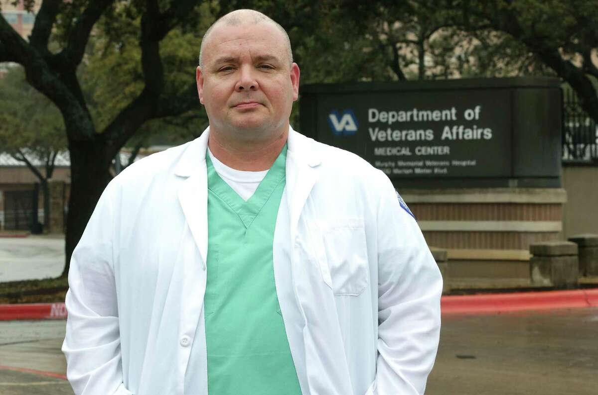 Jamie McBride, program manager for solid organ transplantation with the South Texas Veterans Healthcare System in San Antonio, stands in front of the Audie Murphy VA Hospital on Friday, Jan. 26, 2018.
