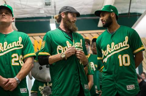 pretty nice 38068 81851 A's players model new kelly green alternate jerseys - SFGate