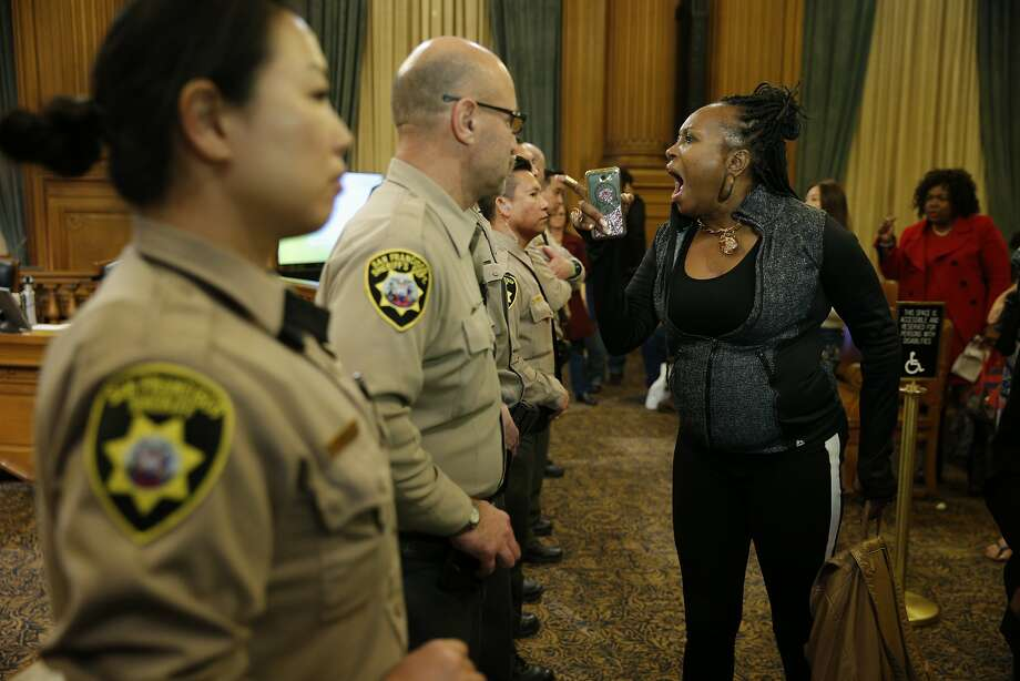 Asale Chandler protests after the Board of Supervisors installed Supervisor Mark Farrell as interim mayor and removed Supervisor London Breed as acting mayor. Photo: Santiago Mejia, The Chronicle