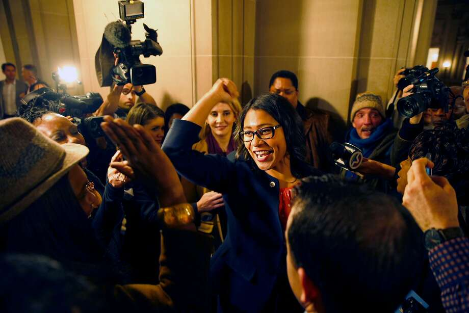 Board of Supervisors President London Breed greets supporters at City Hall. Photo: Santiago Mejia, The Chronicle