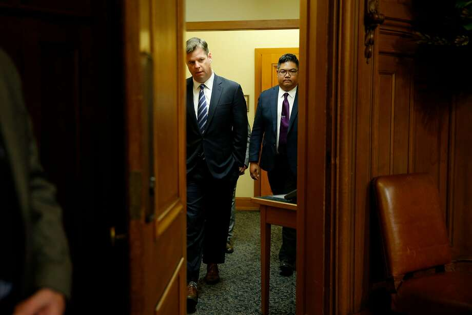 Supervisor Mark Farrell walks back into the meeting at City Hall after being voted interim mayor by the board of supervisors, Tuesday, Jan. 23, 2018, in San Francisco, Calif. Photo: Santiago Mejia, The Chronicle