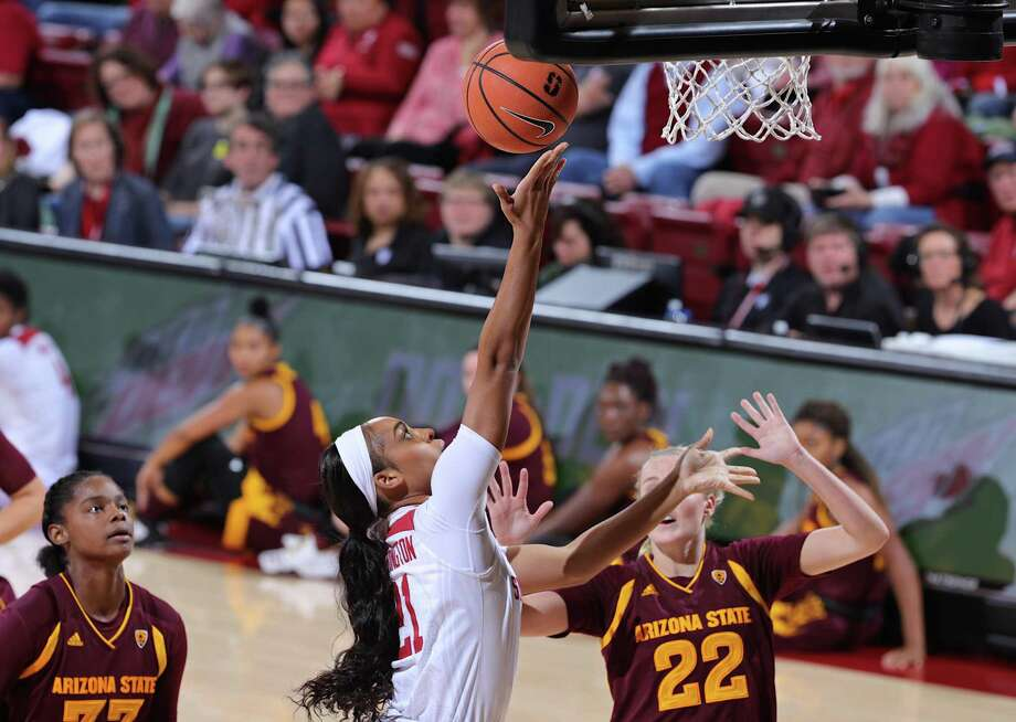 Stanford' Dijonai Carrington goes in for a layup as Stanford Cardinal hosts the Arizona State Sun Devils in a Pac-12 NCAA Women's basketball game at Maples Pavilion in Stanford, Calif. on Friday, January 26, 2018. Photo: Bob Drebin / Bob Drebin