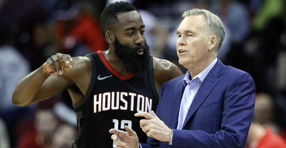 Houston Rockets guard James Harden (13) and head coach Mike D'Antoni talk during the second half of an NBA basketball game against the Miami Heat Monday, Jan. 22, 2018, in Houston. (AP Photo/Michael Wyke) Photo: Michael Wyke/Associated Press