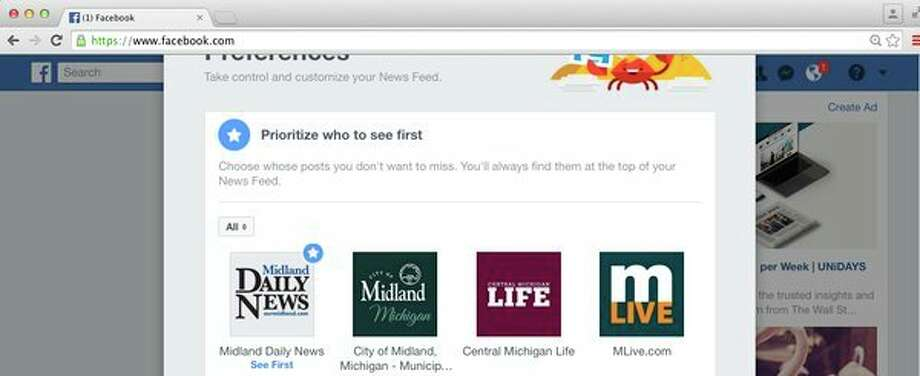 You have to edit the settings on your Facebook news feed to continue seeing stories from the Midland Daily News.