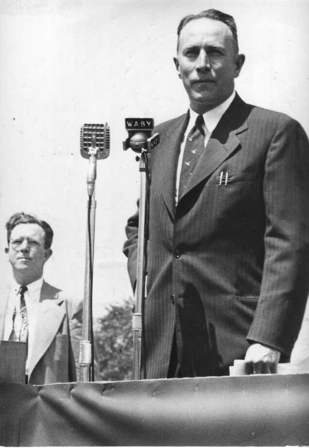 Albany Mayor Erastus Corning 2nd speaks before a crowd on June 13, 1949.  (Times Union Archive)