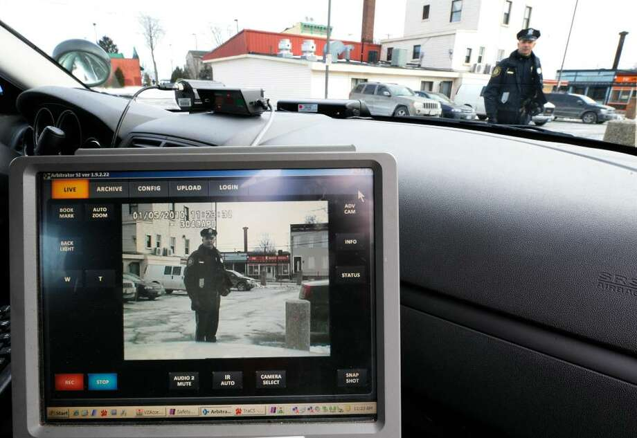 Albany Police Officer William Wilson is captured on the video screen by the new police camera on board his cruiser.   (Skip Dickstein/Times Union) Photo: Skip Dickstein / 2008