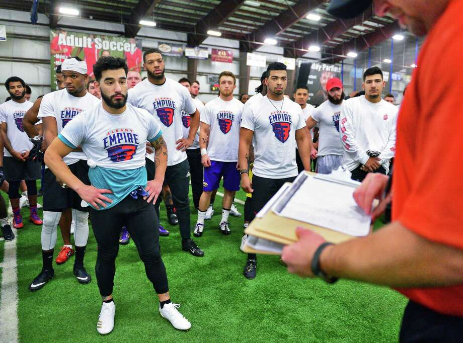 Hundreds of hopefuls try out for the Albany Empires Arena Football League team at Sportsplex Saturday Jan. 27, 2018 in Halfmoon, NY.   (John Carl D'Annibale/Times Union) Photo: John Carl D'Annibale, Albany Times Union / 20042745A