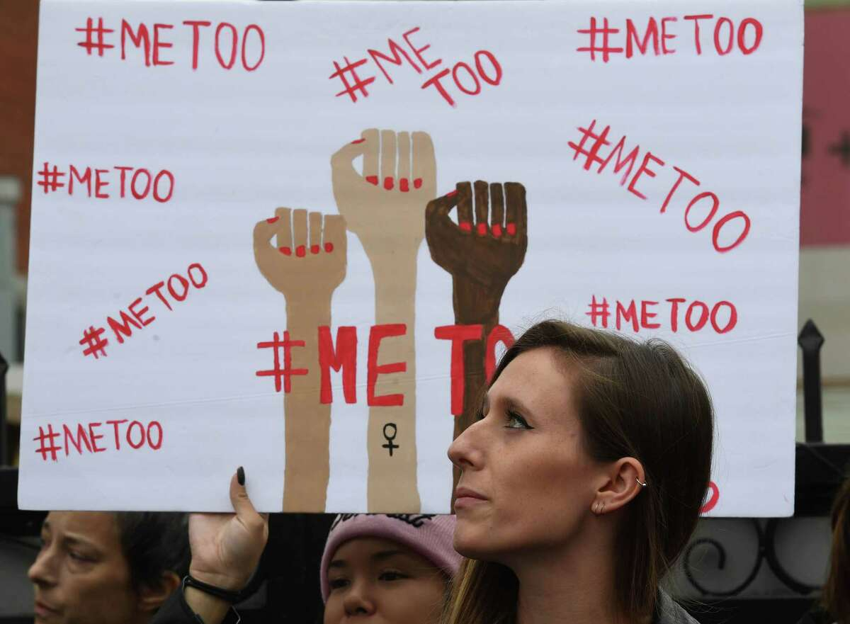 Victims of sexual harassment, sexual assault, sexual abuse and their supporters protest during a #MeToo march in Hollywood, California on November 12, 2017. Several hundred women gathered in front of the Dolby Theatre in Hollywood before marching to the CNN building to hold a rally. / AFP PHOTO / Mark RALSTONMARK RALSTON/AFP/Getty Images ORG XMIT: