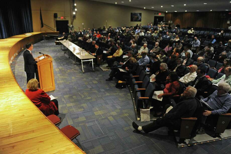 The Representative Town Meeting in session at Central Middle School. Photo: Tyler Sizemore / Tyler Sizemore / Greenwich Time