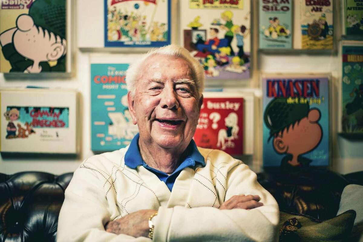 """Beetle Bailey"" Mort Walker in his Stamford, Connecticut, home. Walker died Saturday, Jan. 27, 2018 at age 94."