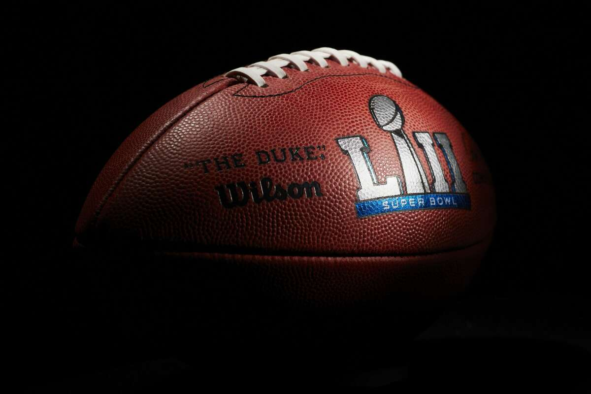 An official ball for the NFL Super Bowl LII football game from the Wilson Sporting Goods Co. in Ada, Ohio, Monday, Jan. 22, 2018. The New England Patriots will play the Philadelphia Eagles in the Super Bowl on Feb. 4, in Minneapolis, MN. (AP Photo/Rick Osentoski)