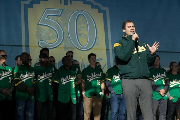 A's President David Kaval speaks to the crowd during Oakland Athletics Fan Fest at Jack London Square on Saturday, Jan. 27, 2018 in Oakland, Calif.