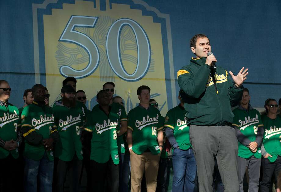 A's president David Kaval speaks to the crowd during Oakland Athletics Fan Fest at Jack London Square on Saturday, Jan. 27, 2018 in Oakland, Calif. Photo: D. Ross Cameron, Special To The Chronicle