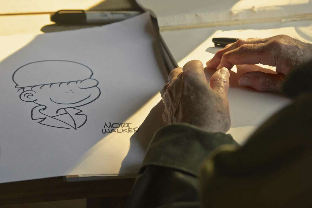 A drawing by cartoonist Mort Walker during a talk at the Powahay District Fall Camporee at the Hoyt Scout Reservation in West Redding, Connecticut, on Saturday, Oct. 21, 2017. Walker died Saturday, Jan. 27, 2018 at age 94.