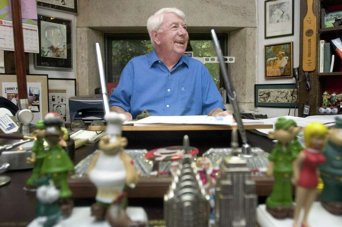 Mort Walker in the studio of his North Stamford home on Sunday, Aug. 21, 2005. Walker died in his Stamford, Connecticut, home on Saturday, Jan. 27, 2018 at age 94.