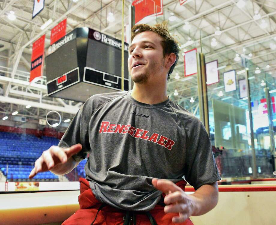 RPI hockey player Jake Marello, of Guilderland speaks with TU reporter Tim Wilkin after practice at the Houston Field House Wednesday Jan. 24, 2018 in Troy, NY.  (John Carl D'Annibale/Times Union) Photo: John Carl D'Annibale / 20042732A