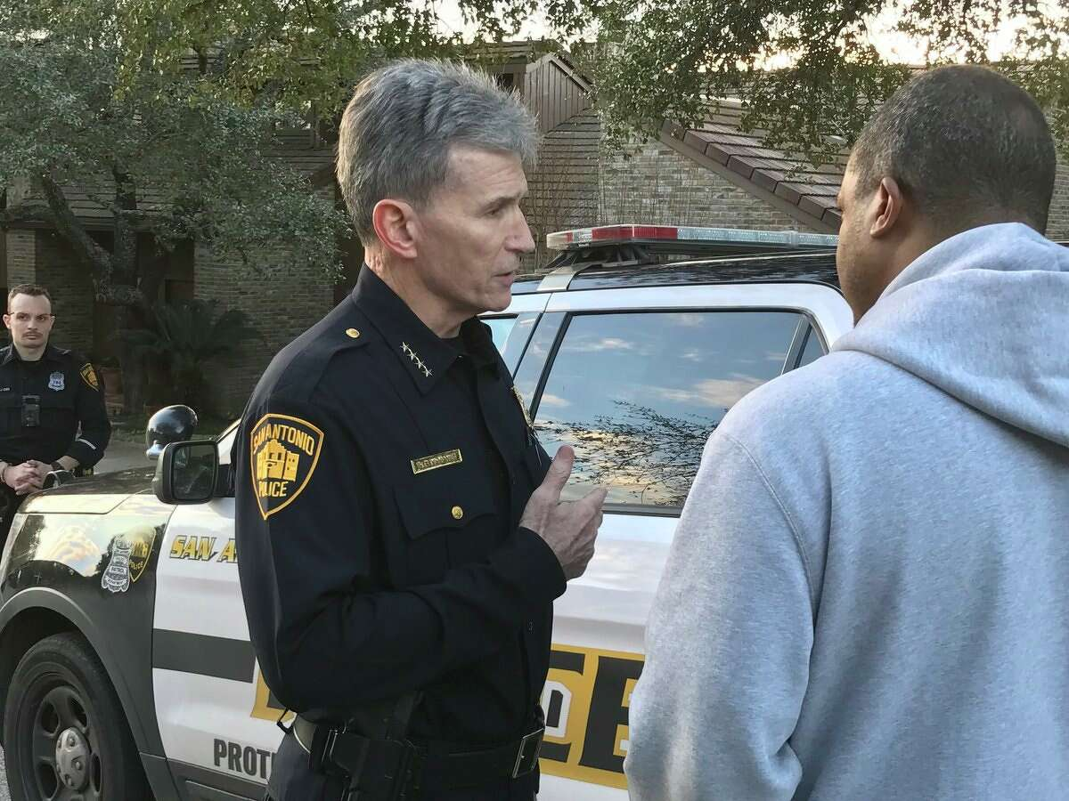 San Antonio police Chief William McManus talks to reporters following a fatal officer-involved on the North Side Saturday, Jan. 27, 2018.