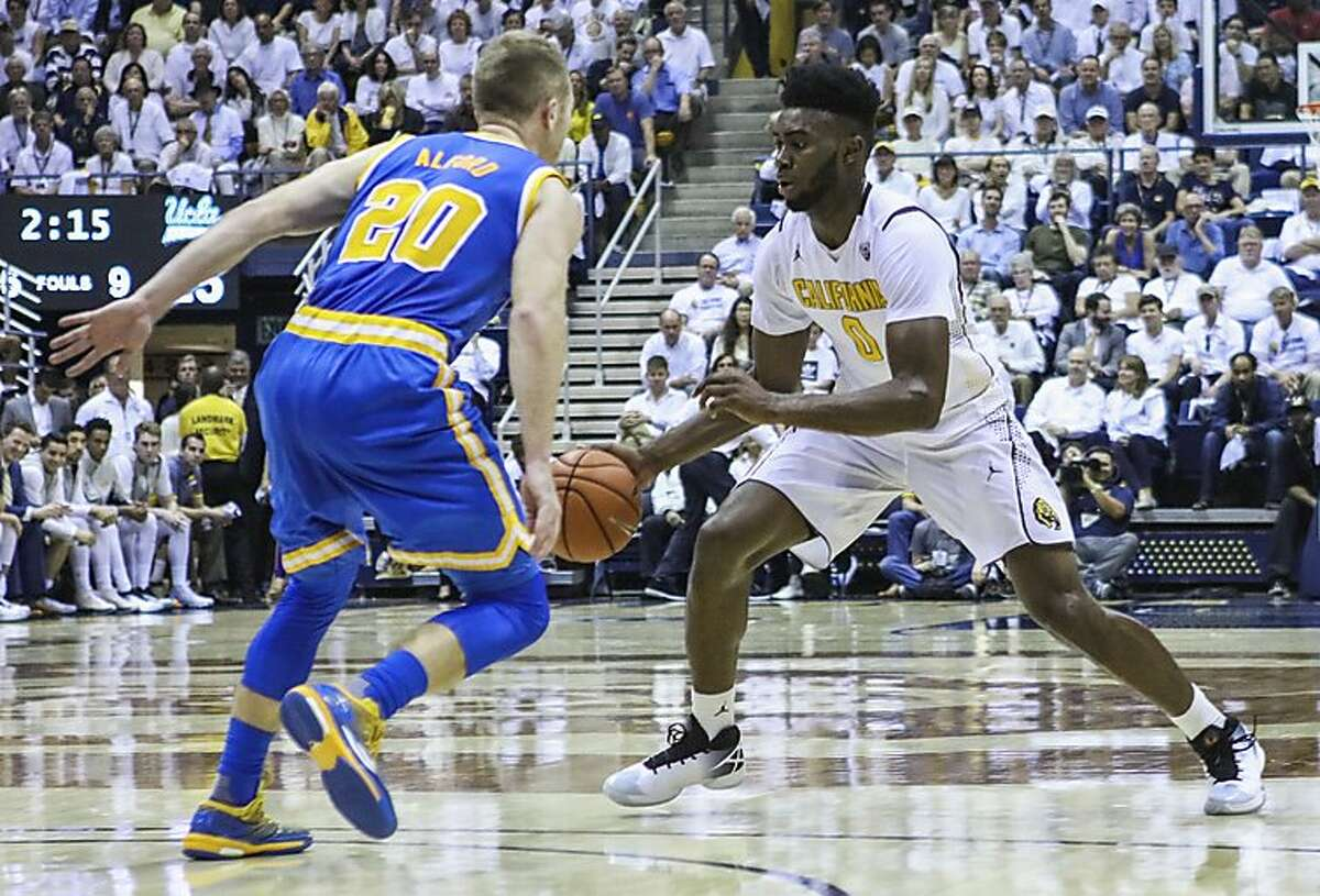California Golden Bears forward Jaylen Brown (0) dribbles the ball against UCLA Bruins player Nick Kerr (20) during a game at Haas Pavilion, in Berkeley, California on Thursday, February 25, 2016.