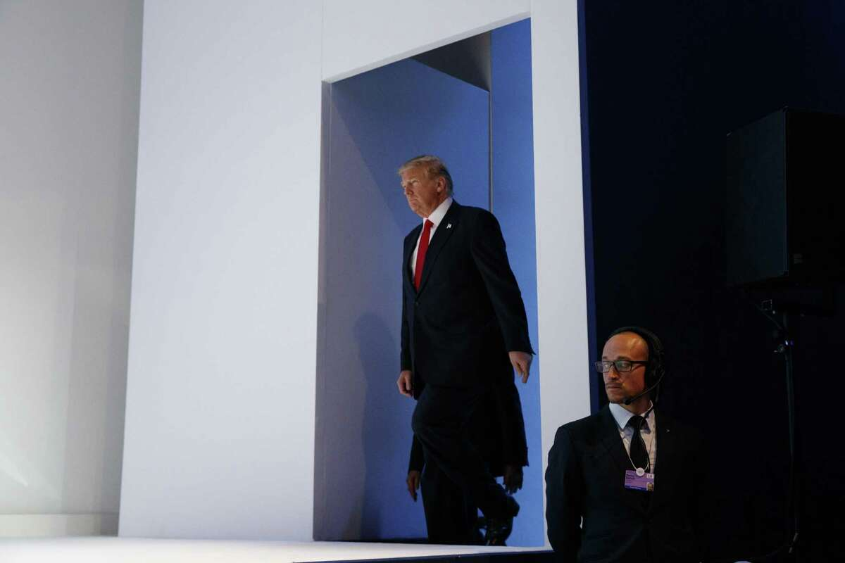 President Trump arrives to deliver a speech to the World Economic Forum in Davos, Switzerland, on Friday.
