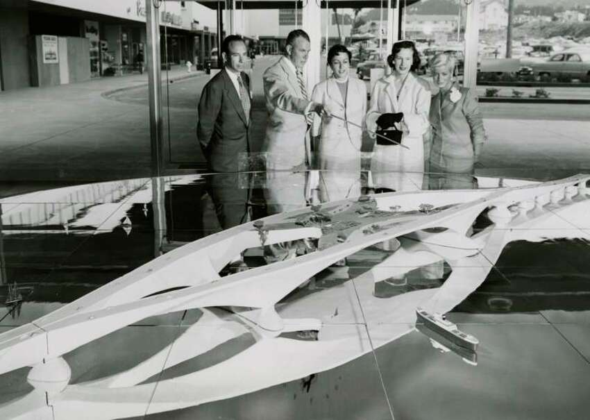 A model of Frank Lloyd Wright's Butterfly Bridge is displayed at the Stonestown Shopping Center, San Francisco in 1953.