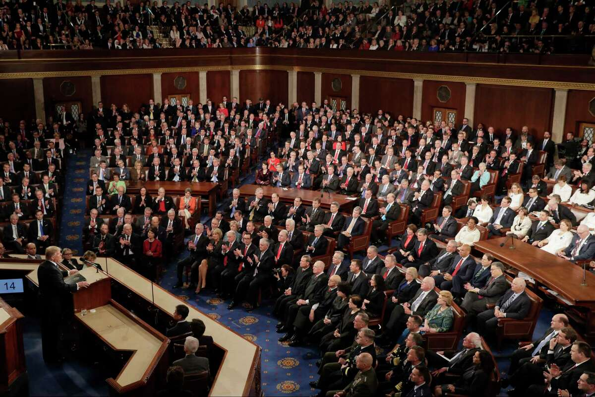 FILE - In this Feb. 28, 2017, file photo, President Donald Trump addresses a joint session of Congress on Capitol Hill in Washington. Trump will deliver his first State of the Union address on Tuesday, Jan. 30, 2018. (AP Photo/J. Scott Applewhite, File)
