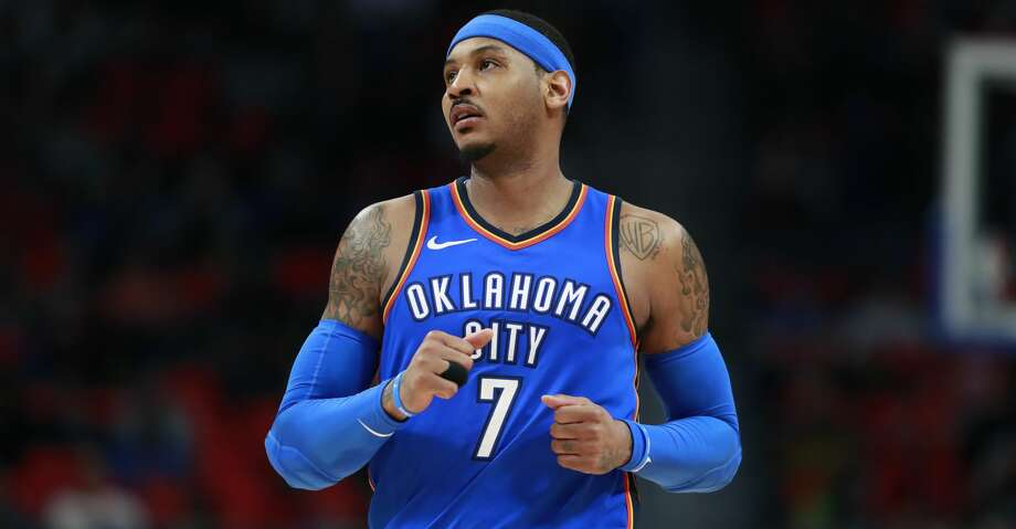 Oklahoma City Thunder forward Carmelo Anthony runs up court during the second half of an NBA basketball game against the Detroit Pistons, Saturday, Jan. 27, 2018, in Detroit. (AP Photo/Carlos Osorio) Photo: Carlos Osorio/Associated Press