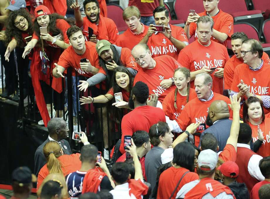 Fans jockey for position to greet guard James Harden after the Rockets lost to the Spurs in Game 6 of the Western Conference semifinals last season, proving the team has its supporters. Photo: Mark Mulligan, Staff Photographer / 2017 Mark Mulligan / Houston Chronicle