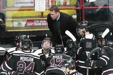Union head coach Rick Bennett, instructs his players against Rensselaer Polytechnic Institute during the first period of an NCAA college hockey game Saturday, Jan. 27, 2018, in Albany, N.Y., (Hans Pennink / Special to the Times Union)
