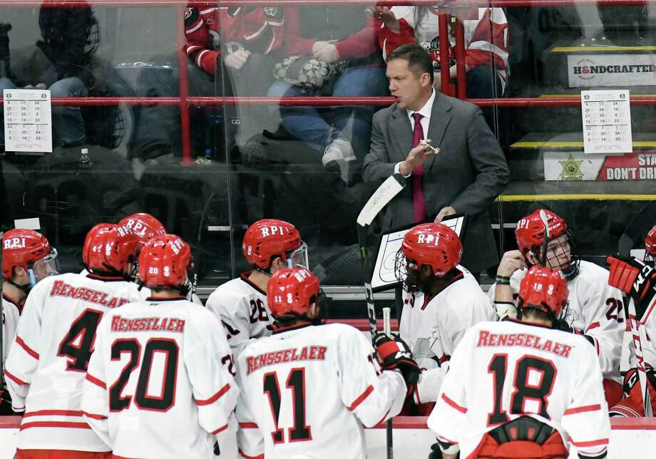 Rensselaer Polytechnic Institute head coach Dave Smith instructs his players against Union during the first period of an NCAA college hockey game Saturday, Jan. 27, 2018, in Albany, N.Y., (Hans Pennink / Special to the Times Union) Photo: Hans Pennink / Hans Pennink