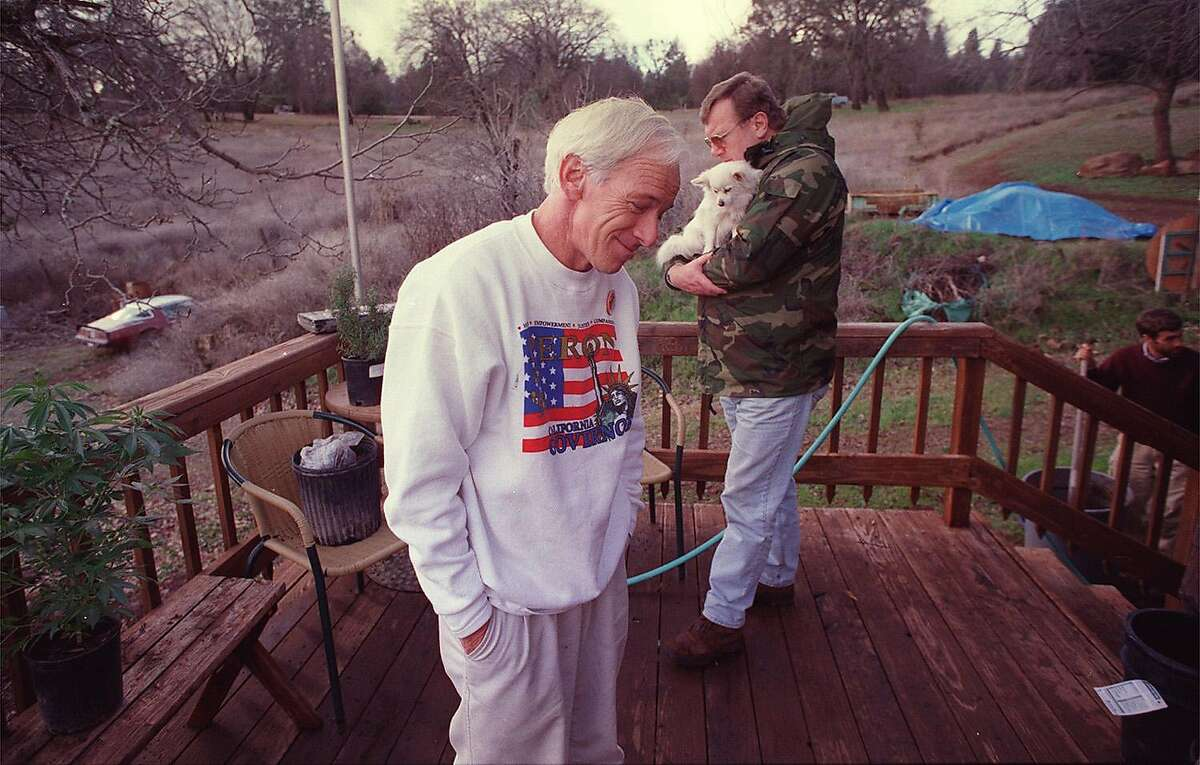 POTFARM1/21JAN99/MN/BW--Dennis Peron and Wayne Justmann reflect on the old days in San Francisco from the deck of their Lake County farm. By Brant Ward/Chronicle