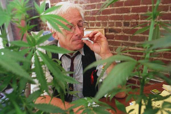POTMARKET1/C/10JUN96/MN/MACOR       Dennis Peron, founder of the CANNIBIS BUYERS CLUB of San Francisco has collected enough signatures to place his Medical Marijuana Iniative on the November ballot.    Chronicle Photo: Michael Macor ALSO RAN: 4/23/97