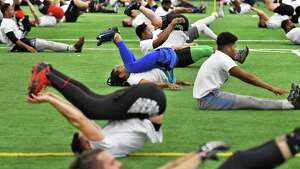 Hundreds of hopefuls try out for the Albany Empires Arena Football League team at Sportsplex Saturday Jan. 27, 2018 in Halfmoon, NY.   (John Carl D'Annibale/Times Union)