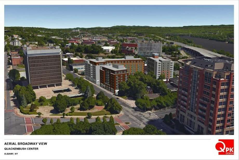 Renderings of a proposed project at 705 Broadway in Albany submitted to the Albany Planning Board in 2017 by Pioneer Companies. Photo: Pioneer Companies