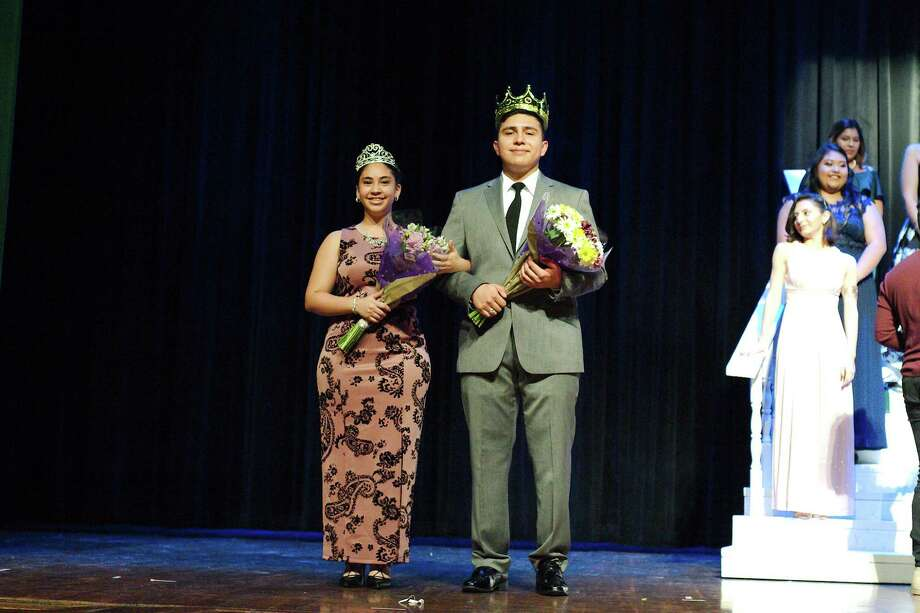 Donna Chang and Helios Trevino are crowned 2018 Pasadena High School Emerald Pageant's queen and king on Saturday. Photo: Kirk Sides / © 2018 Kirk Sides / Houston Chronicle