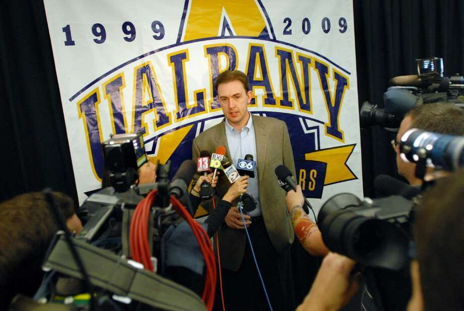 UAlbany men's basketball coach Will Brown speaks to the media during a news conference on Wednesday. (Cindy Schultz / Times Union) Photo: CINDY SCHULTZ / 00006197A
