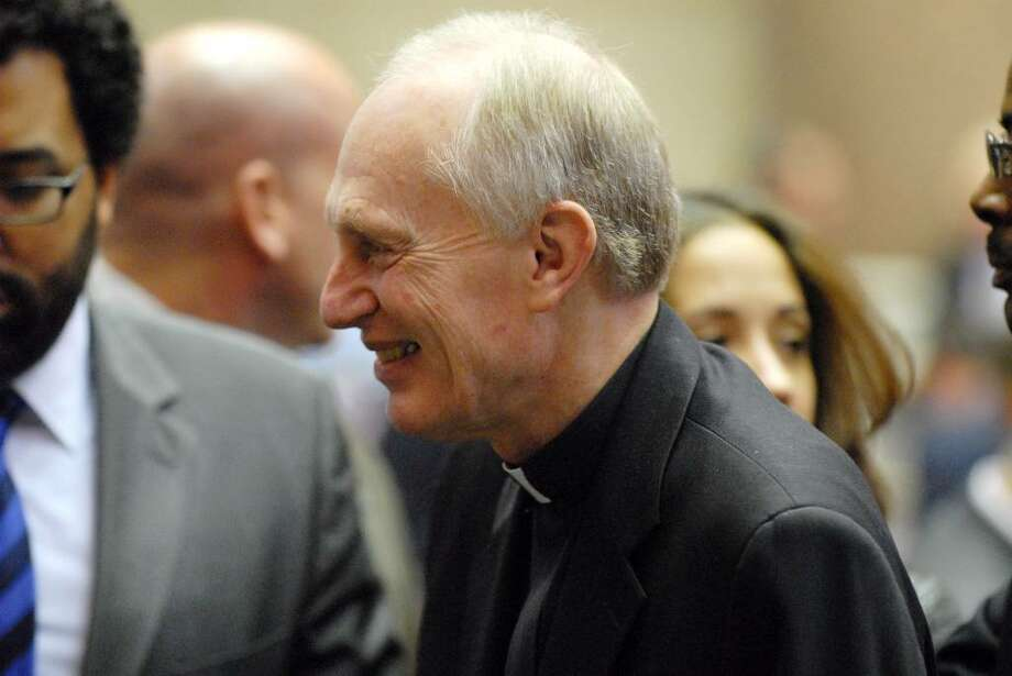 Bishop Howard Hubbard, attending Wednesday?s State of the State address, was also part of a separate news conference on immigration issues. (Will Waldron/Times Union) / 0007052b
