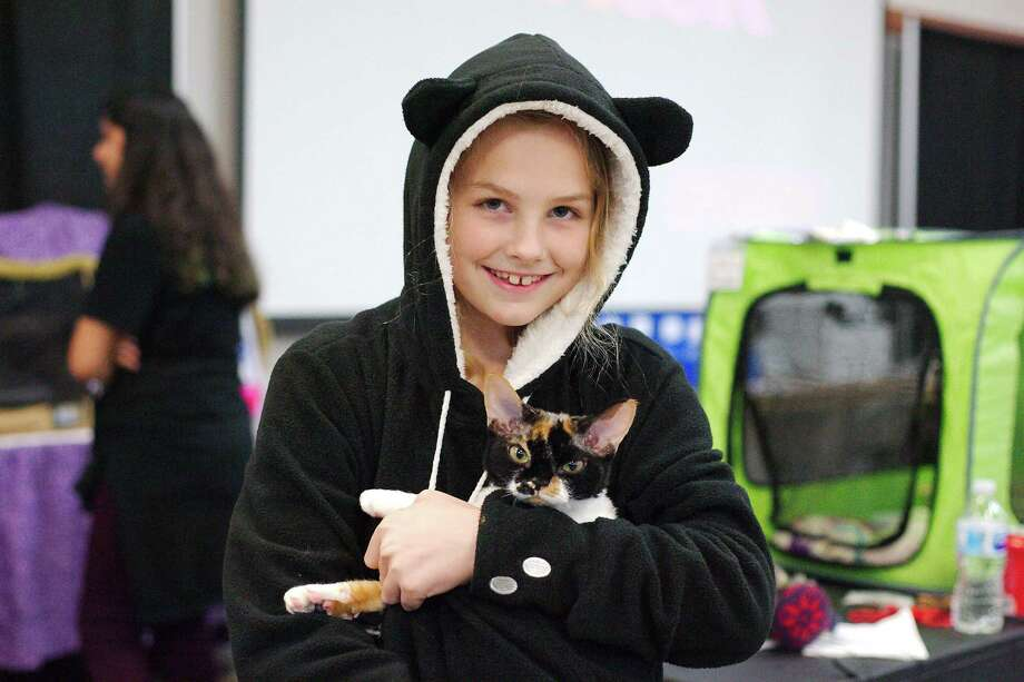 Lily McEachern poses with her Lucy during the Deer Park Felines Football and Fun! cat show. Photo: Kirk Sides / © 2018 Kirk Sides / Houston Chronicle