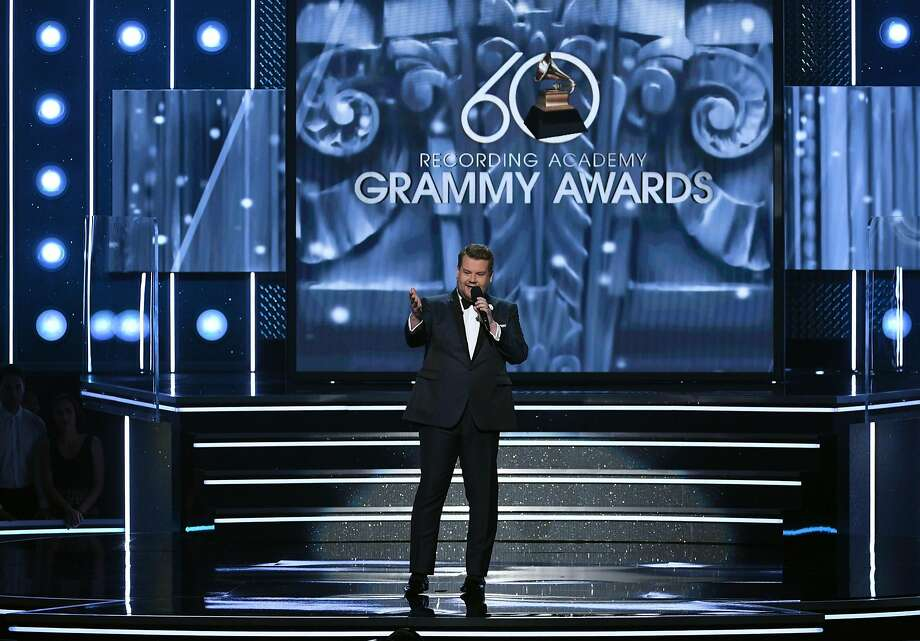 NEW YORK, NY - JANUARY 28:  Host James Corden speaks onstage during the 60th Annual GRAMMY Awards at Madison Square Garden on January 28, 2018 in New York City.  (Photo by Kevin Winter/Getty Images for NARAS) Photo: Kevin Winter, Getty Images For NARAS
