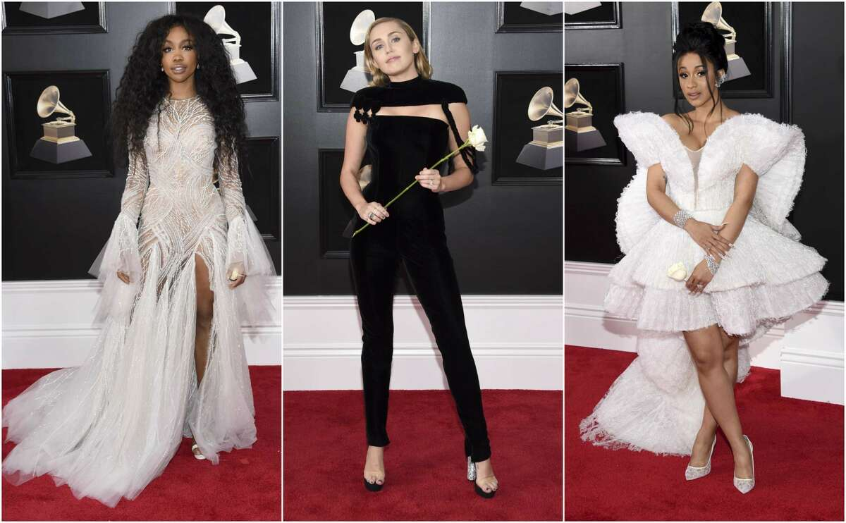 SZA, Miley Cyrus and Cardi B walked the Grammy Award red carpet on Jan. 28, 2018, a night when fashion includes some political statements. Photos by Evan Agostini/Invision/AP.
