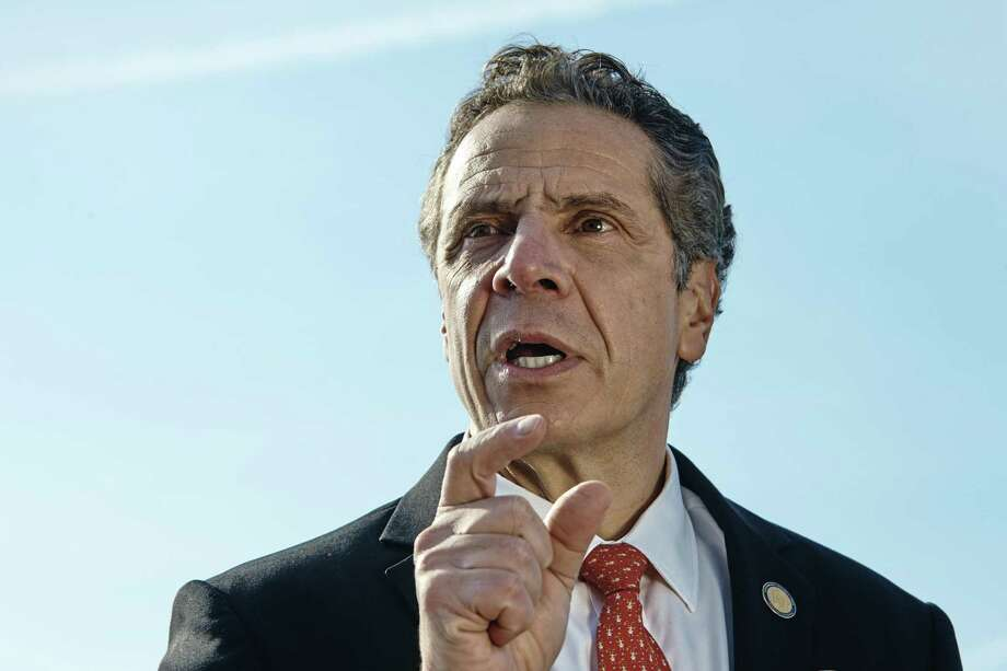 New York Gov. Andrew Cuomo speaks during a news conference in New York, Jan. 21, 2018. Cuomo, Connecticut Gov. Dannel P. Malloy and other Democratic governors are planning a suit over the federal tax overhaul. Photo: File Photo / NYTNS