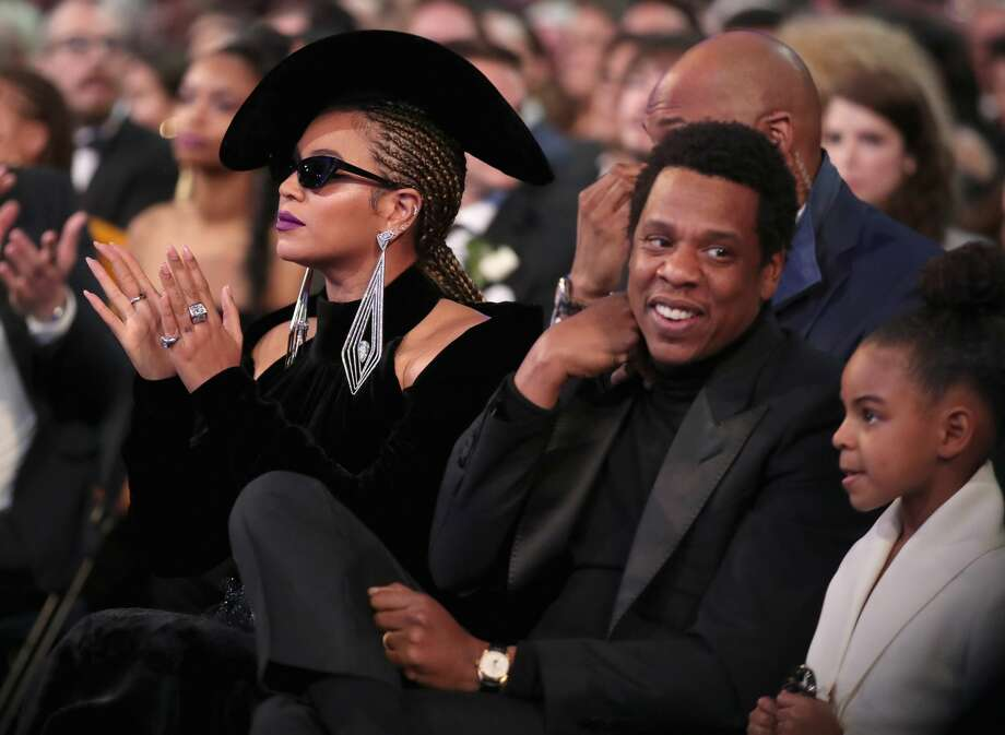 Recording artist Beyonce, Jay-Z and daughter Blue Ivy Carter attend the 60th Annual GRAMMY Awards at Madison Square Garden on January 28, 2018 in New York City. Continue through the photos to see the hilarious other amazing fashions of the 60th Grammy Awards from social media. Photo: Christopher Polk/Getty Images For NARAS