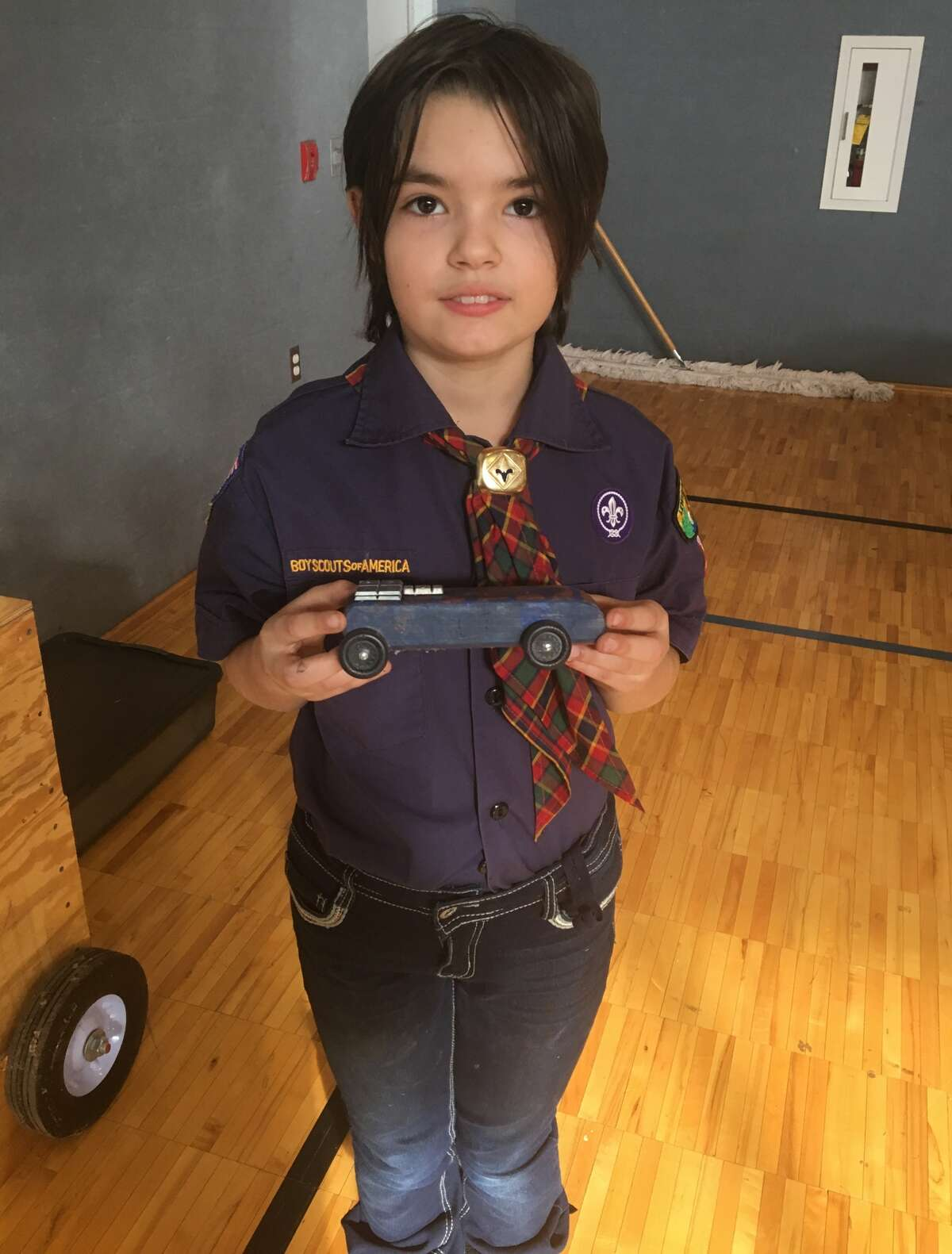 Mia Pinski, pictured, was one three young girls who took part in the event now that the Boy Scouts of America are allowing female members.