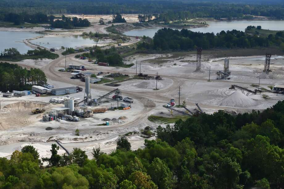 One small part of sand mining operations on the west fork of the San Jacinto in Montgomery County. The mines stretch approximately four miles north to south upstream from Humble and Kingwood. Photo: Bob Rehak