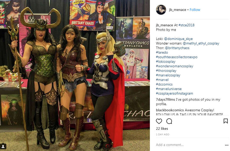 "jb_menace: ""At #stce2018  Photo by me  Loki: @dominique_skye Wonder woman: @methyl_ethyl_cosplay Thor: @brittanychaos  #laredo #southtexascollectorsexpo  #lokicosplay #wonderwomancosplay #thorcosplay  #marvelcosplay #marvel #dccomics  #marveluniverse #cosplayersofinstagram"" Photo: Instagram.com/jb_menace"